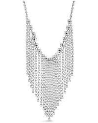 Steve Madden S Rhinestone Link Chain Fringe Bib Necklace - Mettallic