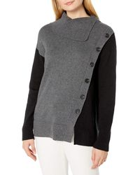 Vince Camuto Asymetric Button Front Overlay Turtleneck - Black