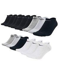 Nike Lot de 15 paires de chaussettes de basket sans chaussettes Noir/blanc/gris