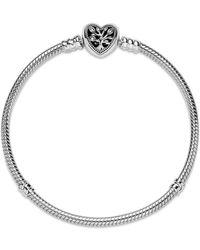 PANDORA 598827C01-16 Bracelet Maille Serpent avec Fermoir en Forme de cœur Argenté 16 cm - Métallisé