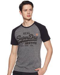 Superdry Vintage Logo 1st Raglan Tee T-Shirt - Noir