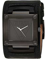 Guess Quartz Stainless Steel and Leather Casual Watch - Noir