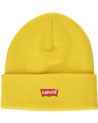 Levi's Red Batwing Embroidered Slouchy Beanie Bonnet - Jaune