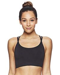 b9c46bcd45498 Medium Impact Butterfly Strap Sports Bra Removable Cups - Black