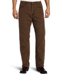 Wrangler - Rugged Wear Woodland Thermal Jean,night Brown,38x36 - Lyst