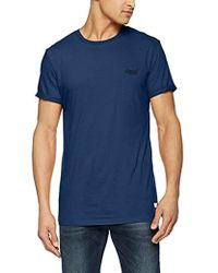 Superdry Label Lite Longline tee, Camiseta para Hombre - Azul