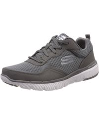 Skechers Flex Advantage 3.0 Zapatillas Hombre, Gris (Charcoal Leather/Mesh/Trim Charcoal), 42.5 EU