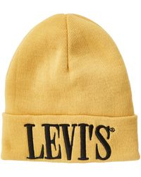 Levi's Levis Footwear and Accessories Serif Logo D0 Beanie Gorro de Punto - Amarillo