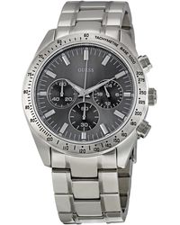 Guess - Gents Watch W13001g1 With Grey Multifunction Dial With Bezel - Lyst