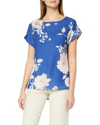 Dorothy Perkins Cobalt Photographic Floral Drop Shoulder Blouse - Blue