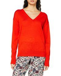 Scotch & Soda Merino Woollen Pullover in V Neck Maglione - Rosso