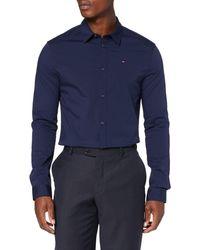 Tommy Hilfiger Original Stretch V-neck Slim Fit Casual Shirt - Blue