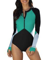 HIKARO Beach One Piece Zip Up Rashguard Swimsuits For Ladies Long Sleeved Green Swimwear Bathing Suits For Summer Uk Size