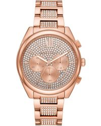 Michael Kors - Janelle Chronograph Rose Gold-Tone Stainless Steel Watch MK7178 - Lyst