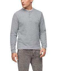 S.oliver Langarmshirt mit Henleyausschnitt Grey 3XL - Grau