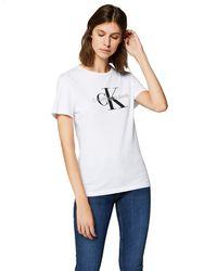 Calvin Klein Logo-print Stretch-cotton T-shirt - White