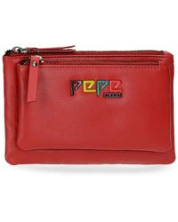 Pepe Jeans - Dala Portamonete Neceser Rosso 17x10,5x2 cms Pelle - Lyst