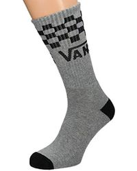 Vans - Socks Checker Crew Grey 8.5-12 Uk - Lyst