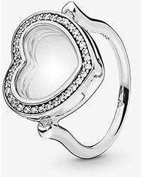 PANDORA - Sparkling Floating Heart Locket Ring Size 6 197252cz52 - Lyst