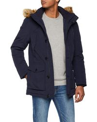 Tom Tailor Winterjacke mit Kaputze und Fakefur Jacke - Blau