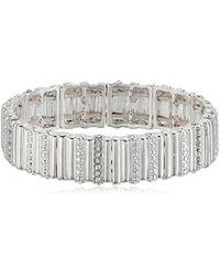 Nine West - Silver-tone And Crystal Stretch Bracelet - Lyst