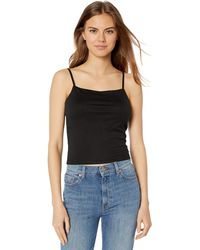 The Drop Cara Square Neck Cropped Strappy Tank Top - Black