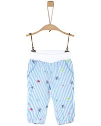 S.oliver Baby Lockere Stoffhose mit Embroidery light blue AOP - Blau