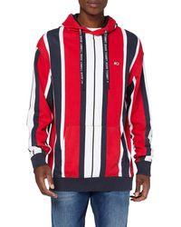 Tommy Hilfiger Sudadera roja de rayas verticales con capucha y logo de bandera - Rojo