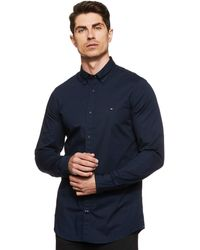 Tommy Hilfiger Core Stretch Slim Poplin Shirt - Bleu