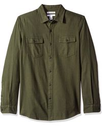 Amazon Essentials Slim-Fit Long-Sleeve Solid Flannel Shirt Button-Down-Shirts - Verde