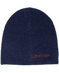 Calvin Klein Boiled Wool Beanie Cuffia - Blu