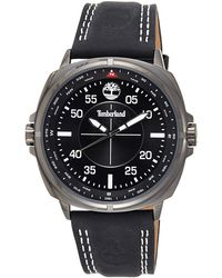 Timberland Campton Quartz Watch With Black Dial Chronograph Display And Black Leather Strap 13910js/02