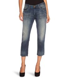 Wrangler Jayne Cropped Jeans Rubble Repaired W31 Inxl32 In - Blue