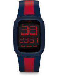 Swatch Unisex Erwachsene Digital Quarz Uhr mit Silikon Armband SURN101D - Mehrfarbig
