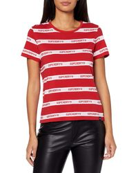 Superdry Camiseta Cote Stripe Text - Rojo