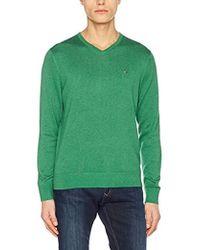 Tommy Hilfiger - Cotton Silk Vneck, suéter Hombre, Verde (Jolly Green Heather 324), Medium - Lyst