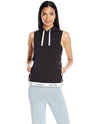 2a9ca18ea6dbc Lyst - Calvin Klein Modern Cotton Sleeveless Hoodie Top in White