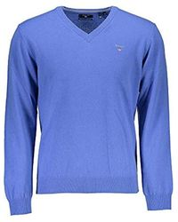 GANT Lambswool V-Neck Pullover - Blau