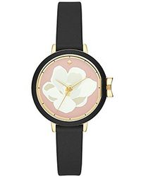Kate Spade - Kate Spade Watches Gold-tone And Black Silicone Park Row Watch - Lyst