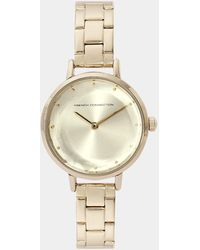 French Connection Quartz Watch With Gold Dial Analogue Display And Stainless Steel Gold Plated Bracelet Fc1275gm - Metallic