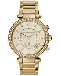 Michael Kors MK5632 Parker Chronograph Champagne Dial Gold Horn Ladies Watch - Mettallic