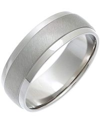 THEIA Ring Titan Flache Form, Mattierte Mitte 7mm - Mettallic