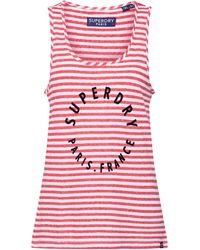 Superdry Debardeur Coast Stripe Graphic - Rouge