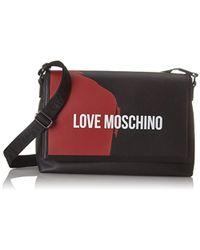 Love Moschino - Borsa Saffiano Pu Nero-rosso, Laptop Bag, Multicolour (black-red), 22x13x35 Cm (b X H T) - Lyst