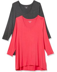 Amazon Essentials 2-Pack 3/4 Sleeve V-Neck Swing Tee T-Shirt - Rouge