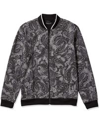 Kenneth Cole Zip Up Paisley Bomber Jacket - Gray