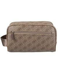 Guess Toiletry Bag Travel Organizer-dopp Kit With Handle Strap, Brown, One Size