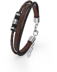 S.oliver Armband 20+2 cm geflochten Edelstahl Leder 22 cm 2015060 - Braun