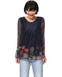 Desigual T- Shirt Long Sleeve Rachel Blue ches Longues - Bleu