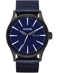 Nixon Sentry Leather All Black/Dark Blue Classic 's Watch - Schwarz